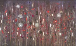 Life's a Celebration by Jo Starkey - Original painted on Silk on Board sized 39x24 inches. Available from Whitewall Galleries